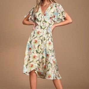 Lulu's | Flutter Floral Print Wrap Midi Dress